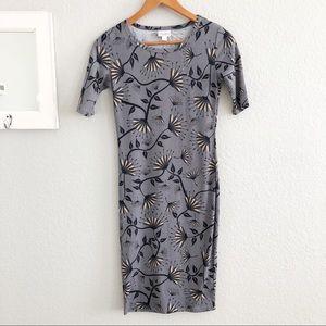 LuLaRoe Gray Floral Julia Bodycon Dress